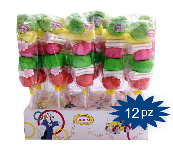 Spiedini di marshmallow colori assortiti 12 pz..