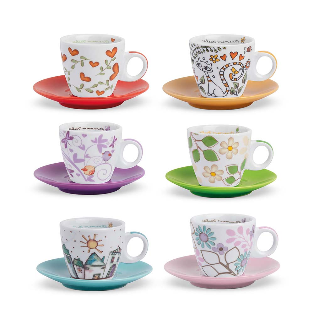 Set di 6 tazzine da caffè con piattino colorato linea tea for two egan mis. 6x26(h) cm..