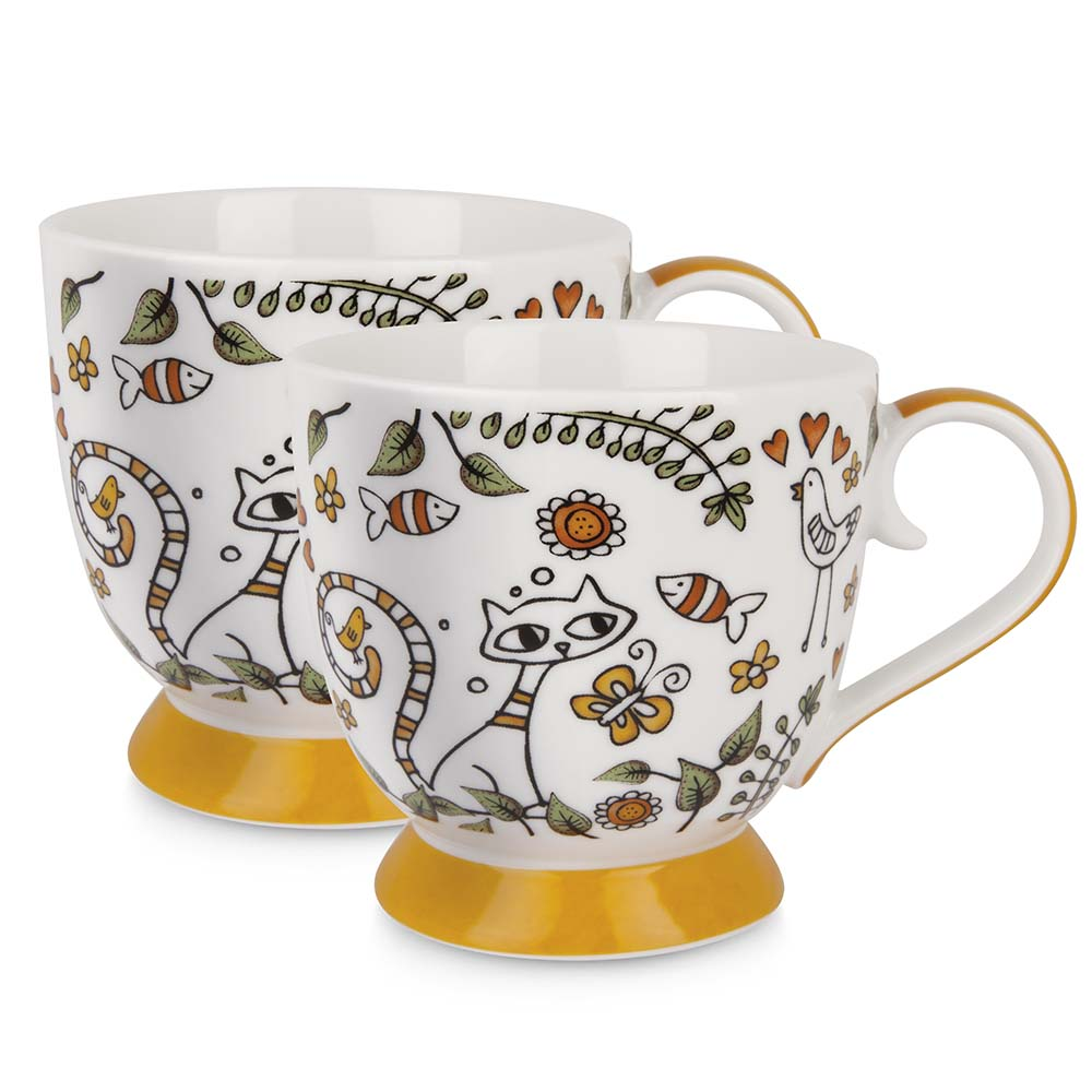 Set di 2 tazze arancio con animali dipinti in porcellana linea tea for two egan mis. dia.9.5 cm. .