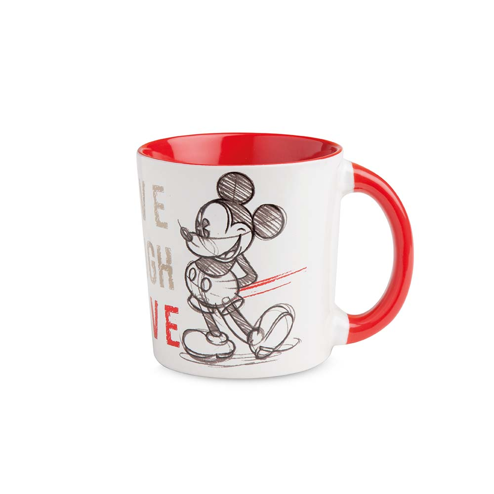 Mug con mickey mouse rossa in porcellana linea mickey live laught love egan mis. 390 ml..