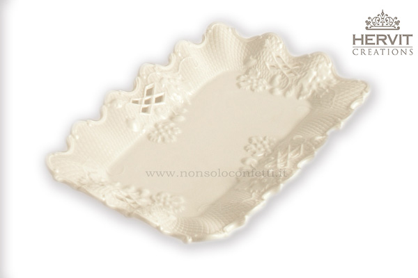 Piattino in porcellana bianca bomboniere hervit creation mis.22x13cm.                 .