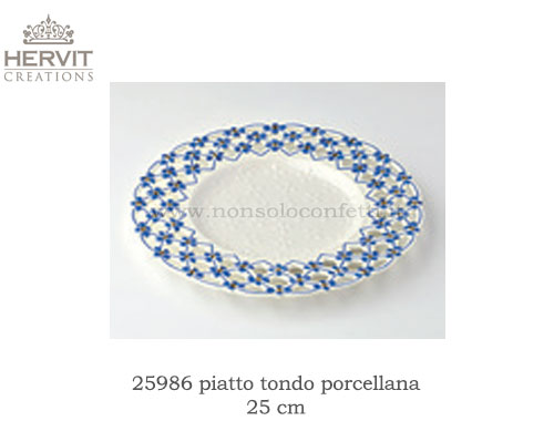 Piatto tondo royal blue in porcellana traforata hervit diametro 25 cm..