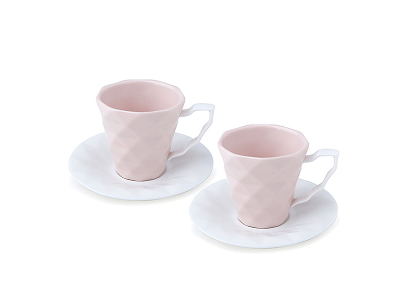 Set da 2 tazzine da caffè con piattino in porcellana color pesca Hervit mis. 6 Cm.