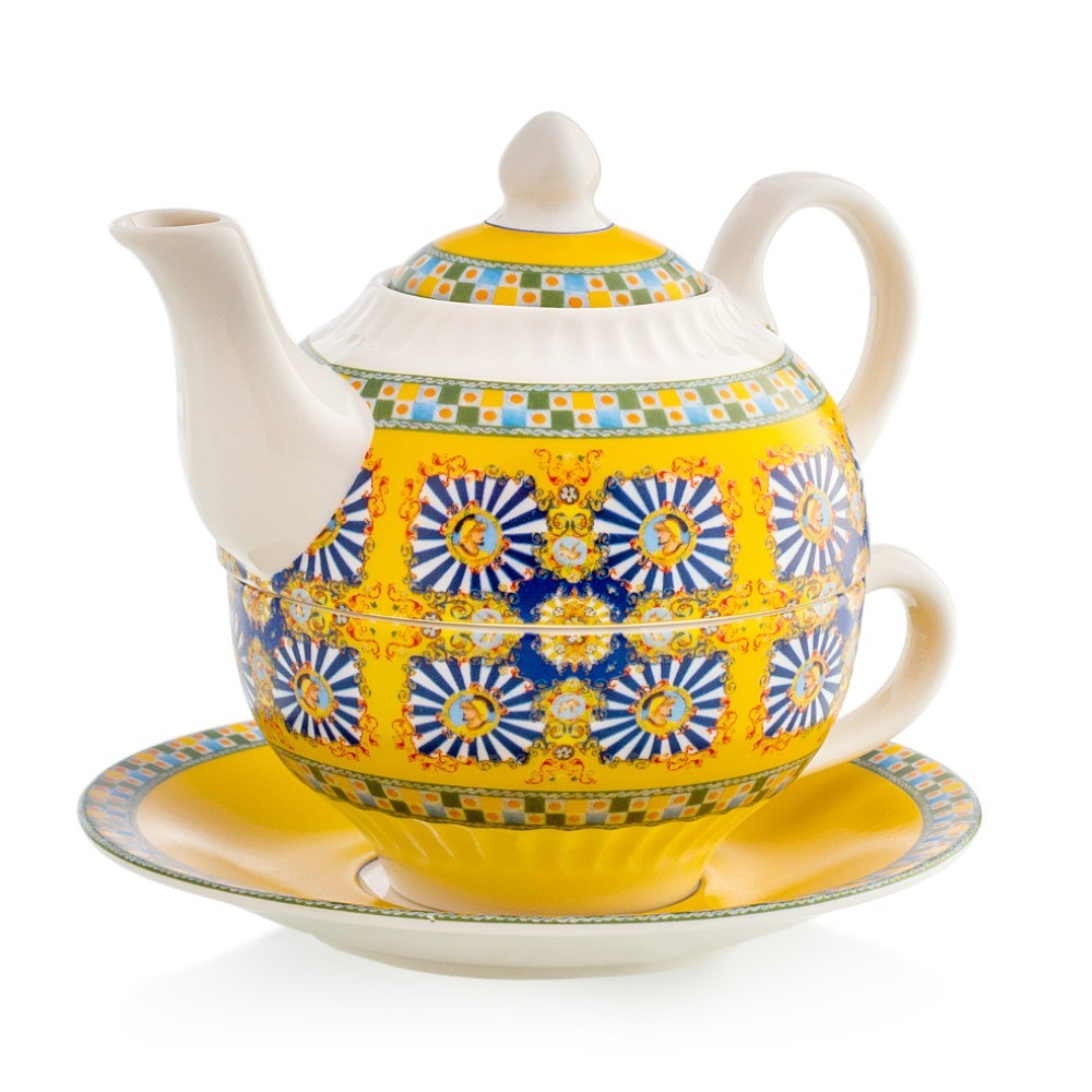 Tea for one in porcellana emo' linea sicily yellow mis. dia.14x13(h) cm..