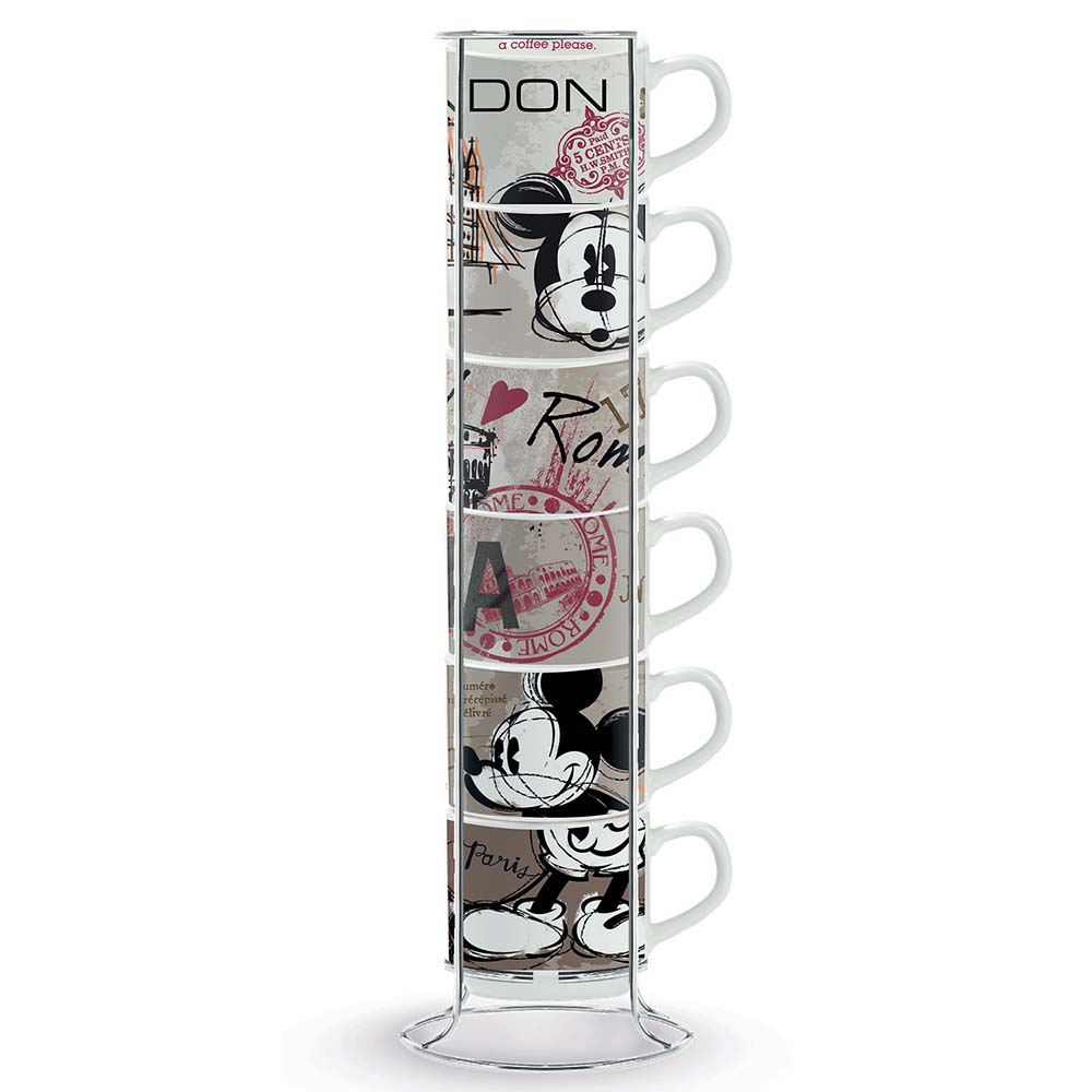 Set di 6 tazze da caffè con metalrack egan walt disney mickey in the city mis. 5.5 cm..