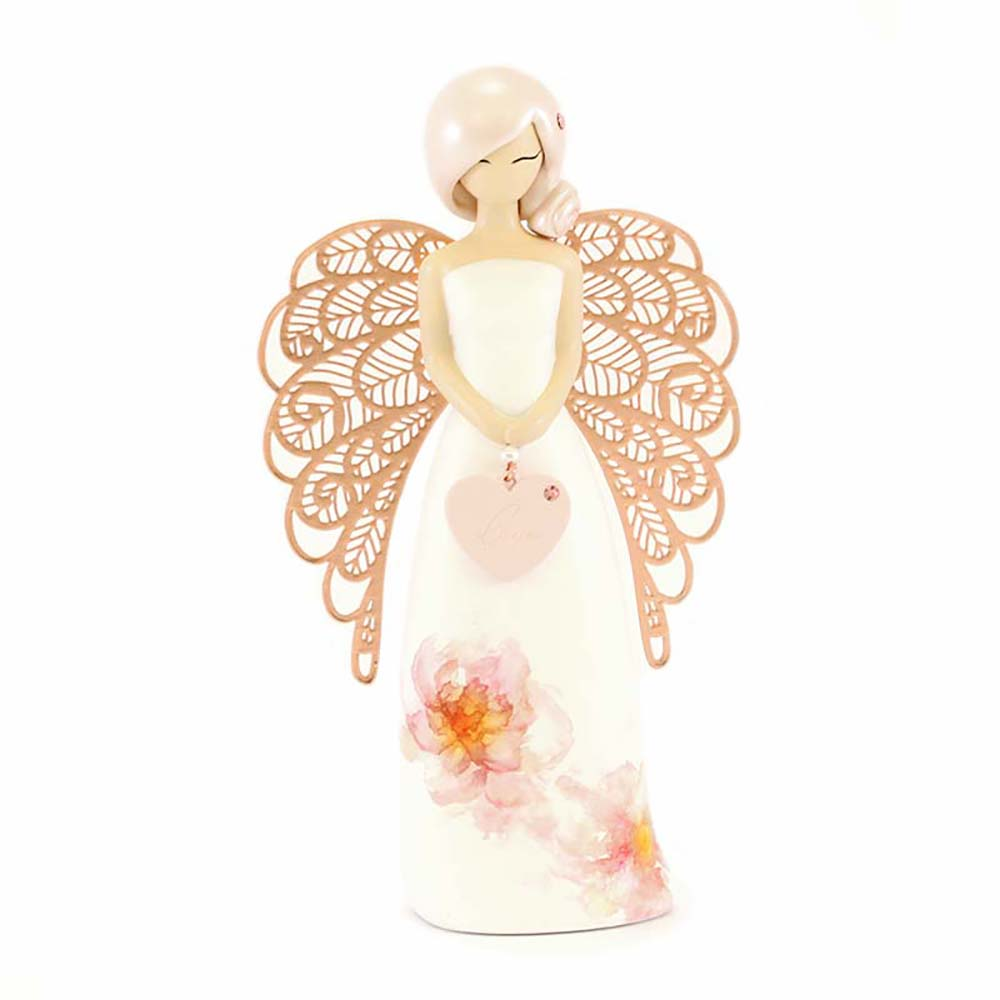 Angelo dell'amore con scritta love e fiori dipinti rosa you are an angel mis. 15(h) cm..
