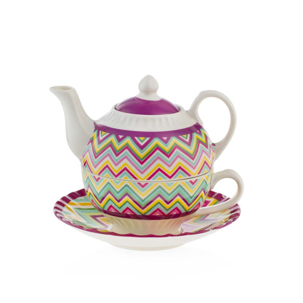 Tea for one in porcellana emo' linea optical mis. 14.5x14.5x10.8(h) cm..