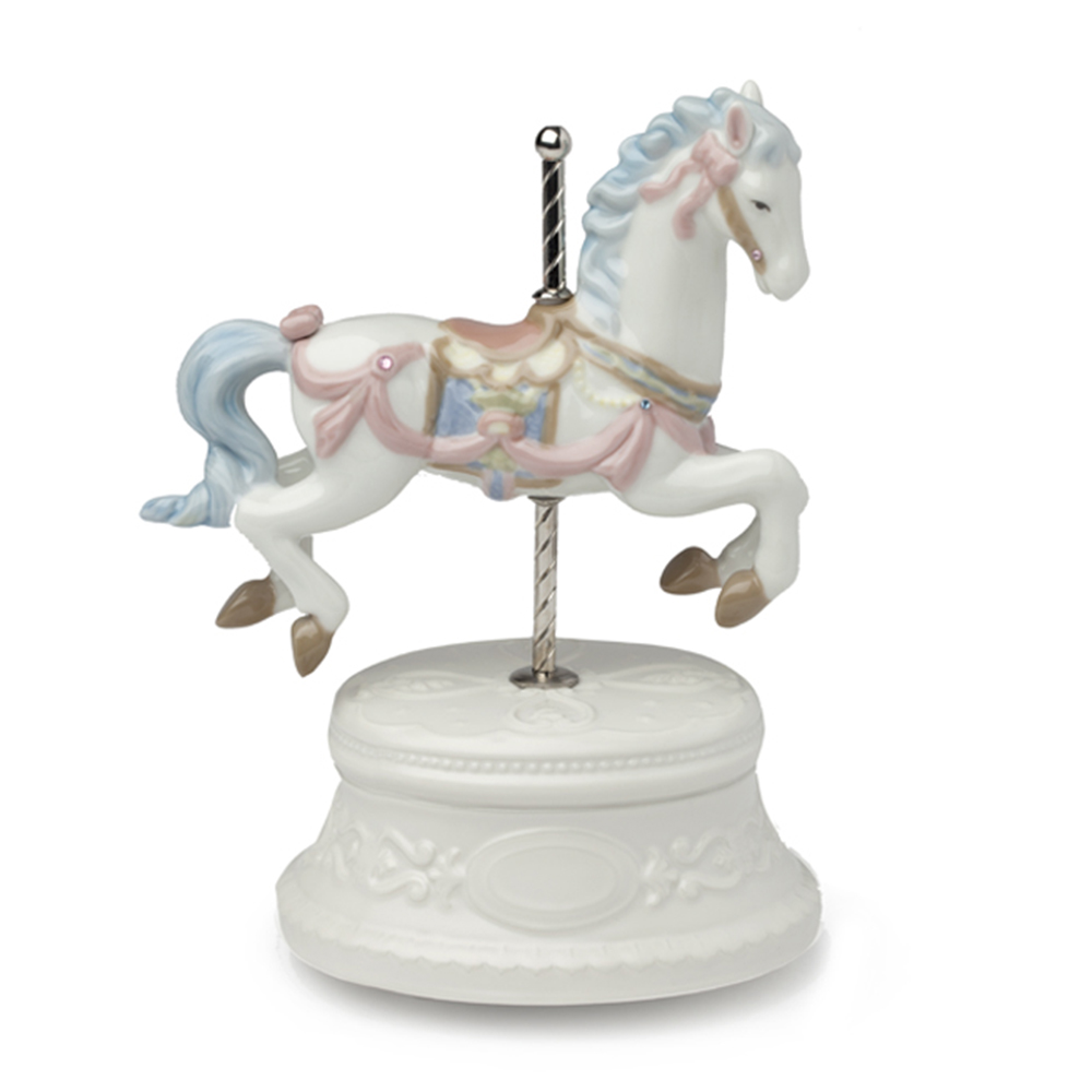 Carillon con cavallo royal class by hervit in porcellana misure 16 x 20 cm..