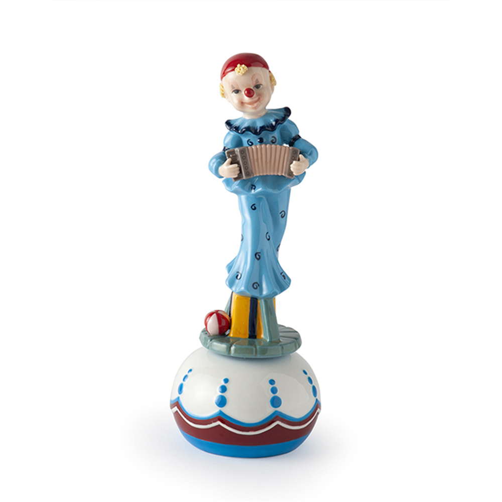Carillon clown con fisarmonica royal class by hervit in porcellana misure 22 cm..