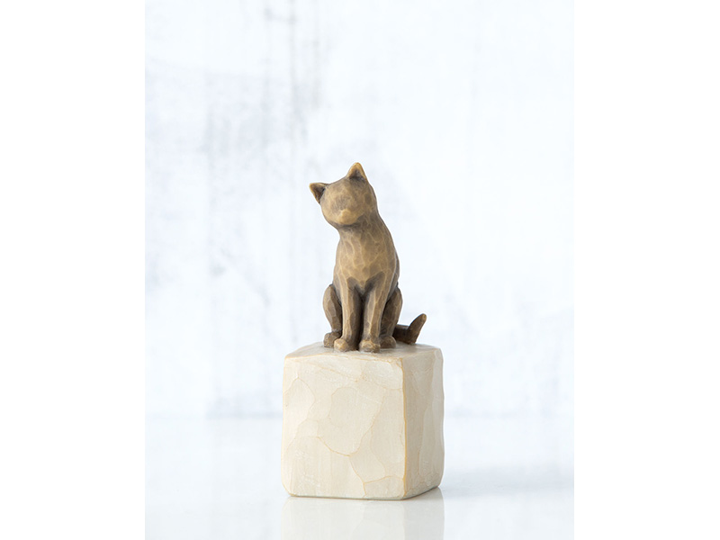 Statuina amo il mio gatto marrone scuro willow tree mis. 3x3x7,5 cm.