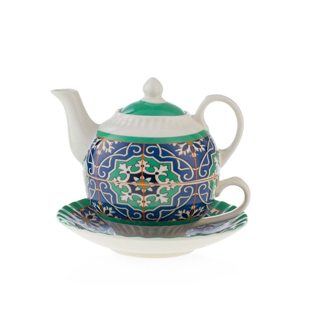 Tea for one in porcellana emo' linea azulejos mis. 14.5x14.5x10.8(h) cm..