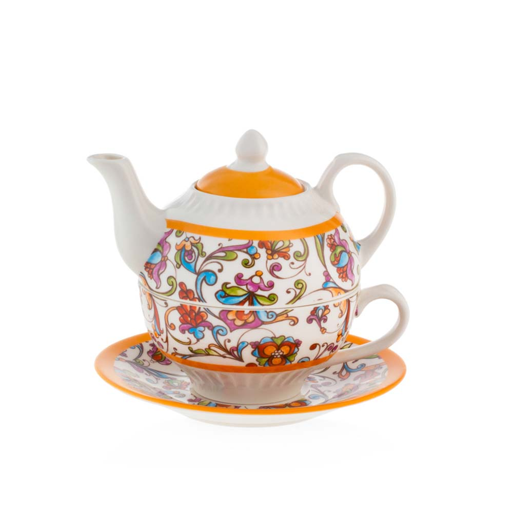 Tea for one in porcellana emo' linea costiera mis. 14.5x14.5x10.8(h) cm..