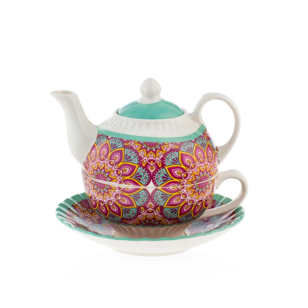 Tea for one in porcellana emo' linea kaleidos mis. 14.5x14.5x10.8 cm..