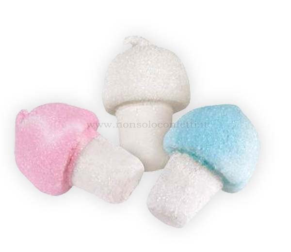 Marshmallow mini funghi assortiti da 6gr. busta da 900 gr. bulgari.